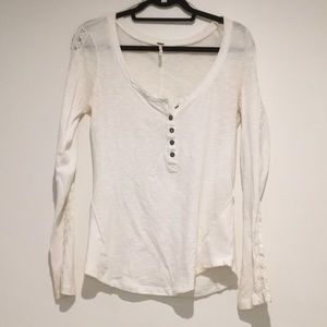 Free people long sleeve white button up top